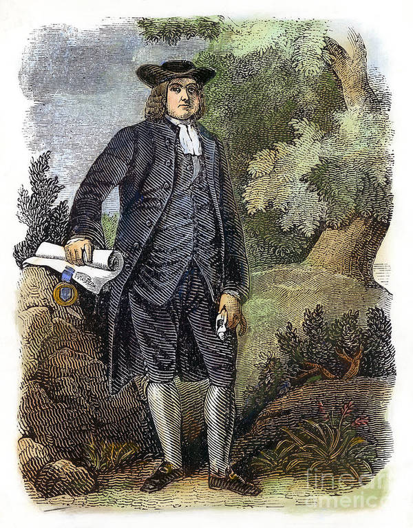 17th Century Poster featuring the photograph William Penn (1644-1718) by Granger