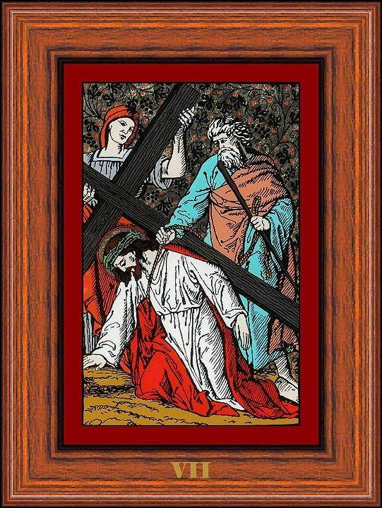 Vii - Iisus Cade A Doua Oar� Sub Cruce (jesus Falls The Second Time) - Icoana Pictata In Ulei Cu Foita De Aur Pe Sticla (icon Painted In Oil With Gold Leaf On Glass ) Poster featuring the painting Drumul Crucii - Stations Of The Cross by Buclea Cristian Petru
