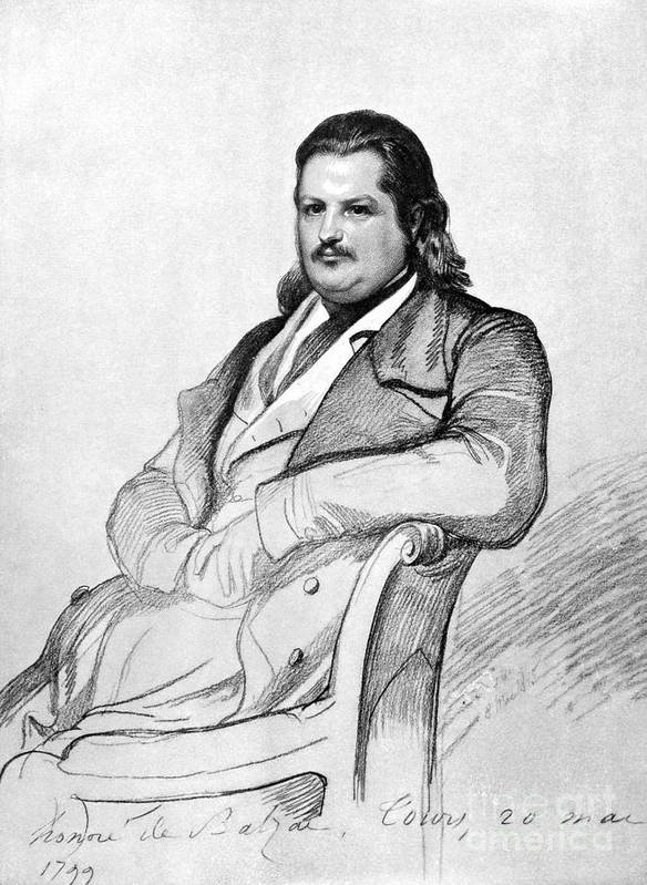 1845 Poster featuring the photograph Honore De Balzac (1799-1850) by Granger