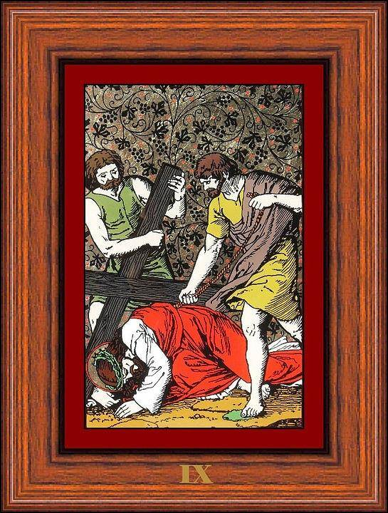 Ix - Iisus Cade A Treia Oar� Sub Cruce (jesus Falls The Third Time) - Icoana Pictata In Ulei Cu Foita De Aur Pe Sticla (icon Painted In Oil With Gold Leaf On Glass ) Poster featuring the painting Drumul Crucii - Stations Of The Cross by Buclea Cristian Petru
