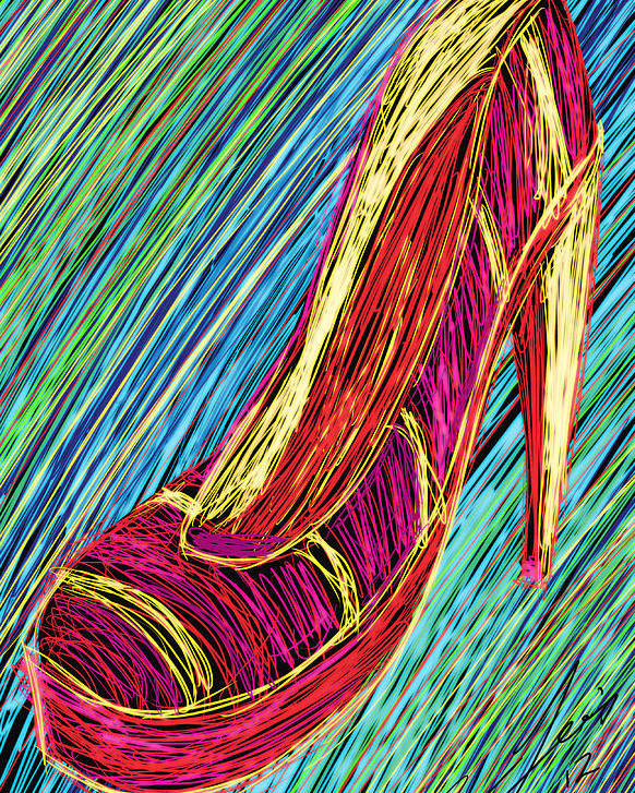 80s High Heels Poster featuring the painting 80's High Heels by Kenal Louis