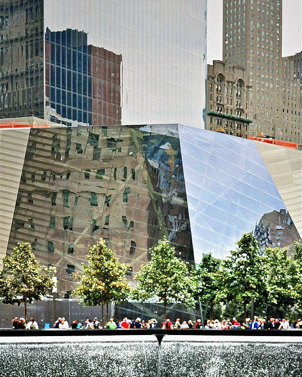 9 Poster featuring the photograph 9/11 Memorial by Gwyn Newcombe