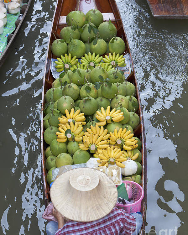 Asia Poster featuring the photograph A Boat Laden With Fruit At The Damnoen Saduak Floating Market In Thailand by Roberto Morgenthaler