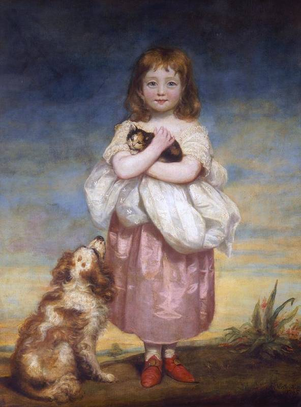 Child; Children; Girl; Girls; Portrait ;full Length; Young; Youth; Cat Cats; Kitten; Kittens ;dog; Dogs; Pet; Pets; Domestic; Animal; Animals; Cocker Spaniel; Spaniels; Georgian Poster featuring the painting A Child by James Northcore