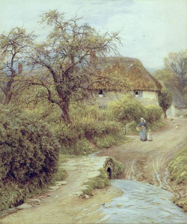 Cottage; Mother And Child; Gate; Rural Scene; Country; Countryside; Home; Path; Garden; Wildflowers; Stream; Thatched; Picturesque; Idyllic; House; Female Poster featuring the painting A Hill Farm Symondsbury Dorset by Helen Allingham