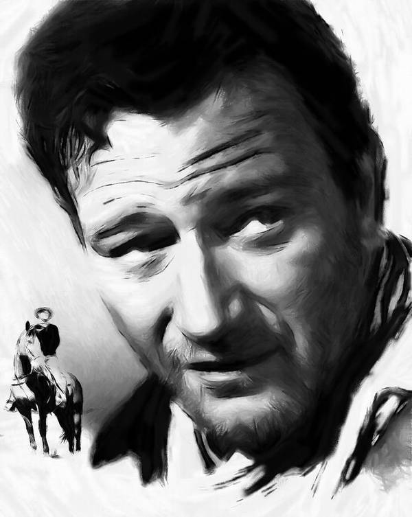 Pastel Painting John Wayne Famous Actor Man Male Hero Cowboy Star Movie Texas Horse Face Portrait Expressionism Horse Ride Western Rodeo Strong Poster featuring the painting A Man Goes His Way by Steve K
