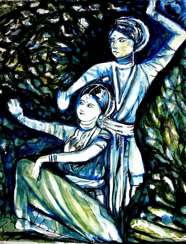 Poster featuring the painting A Melodic Phrase by Nishit Dey