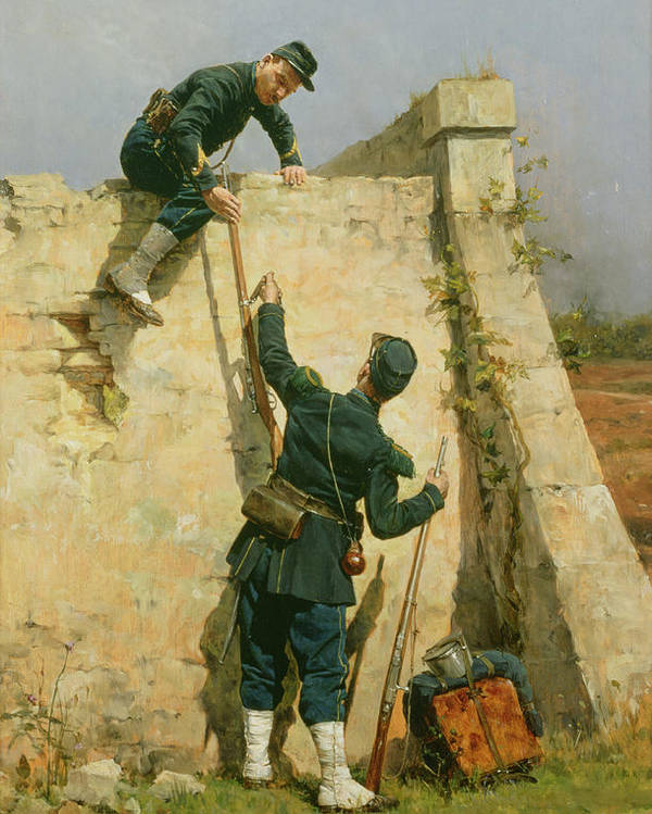 French Soldiers; Military; Rifle; Backpack; Climbing; Wall; Soldier; Uniform; Cap; Spats; Prison; Fleeing; Brothers In Arms; Fugitive; Army Poster featuring the painting A Quick Escape by Etienne Prosper Berne-Bellecour