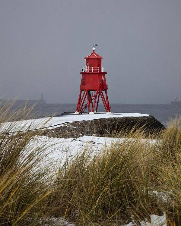 Snow Poster featuring the photograph A Red Lighthouse Along The Coast South by John Short