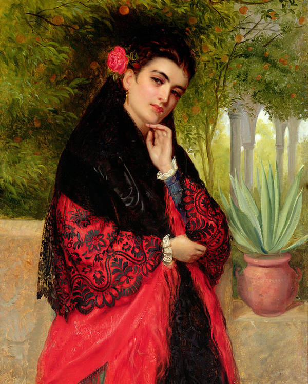 A Spanish Beauty Poster featuring the painting A Spanish Beauty by John-Bagnold Burgess