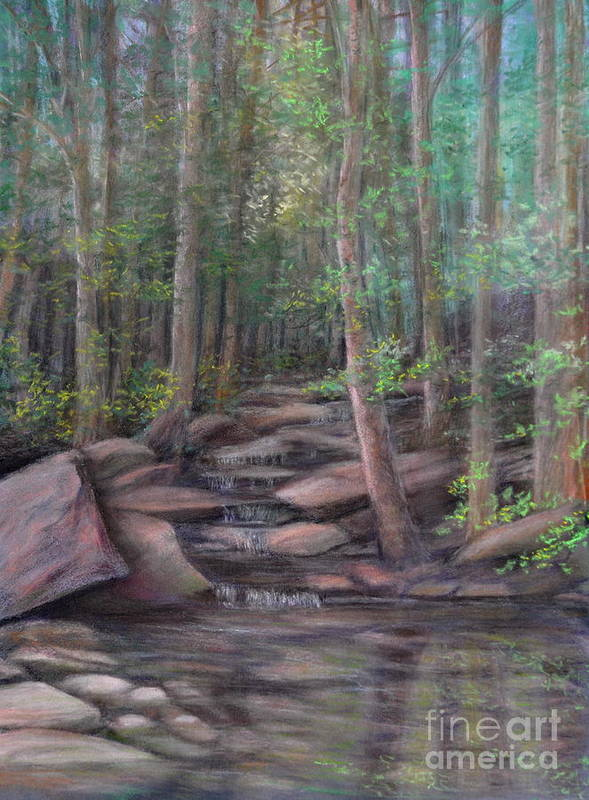 Woods With Stream Poster featuring the painting A Special Place by Penny Neimiller