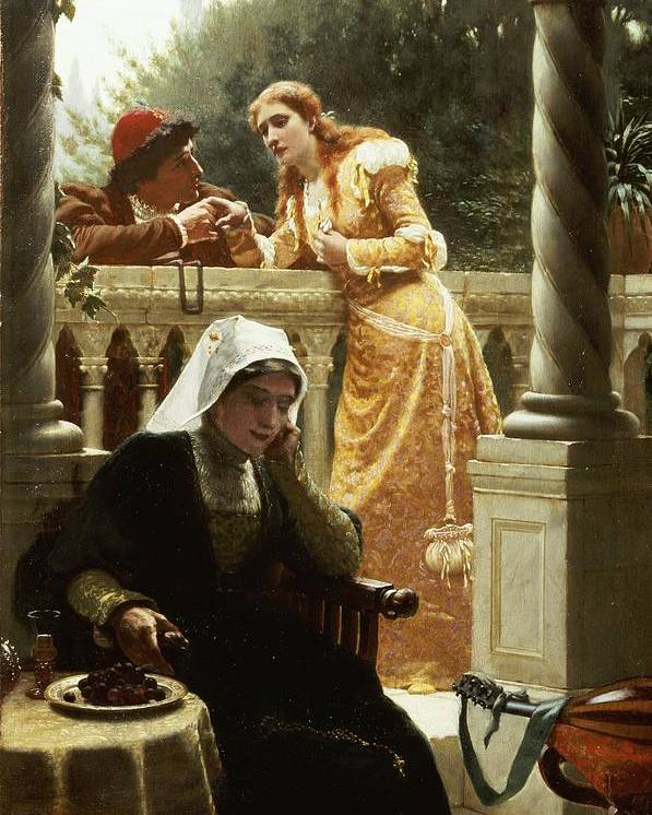 A Stolen Interview Poster featuring the painting A Stolen Interview by Edmund Blair Leighton