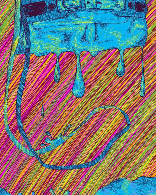 Abstract Handbag Drips Color Poster featuring the painting Abstract Handbag Drips Color by Kenal Louis