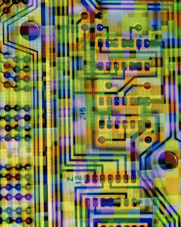 Circuit Board Poster featuring the photograph Abstract Image Of A Circuit Board. by Tony Craddock