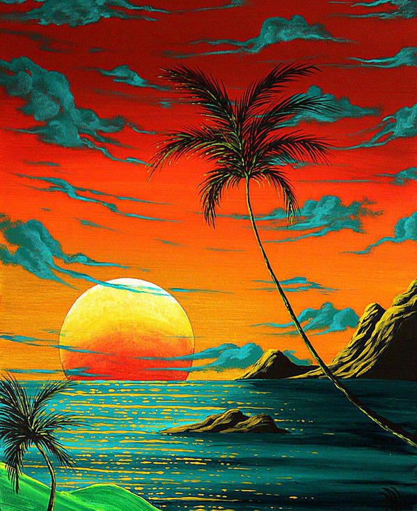 Abstract surreal tropical coastal art original painting for Surreal salon 8