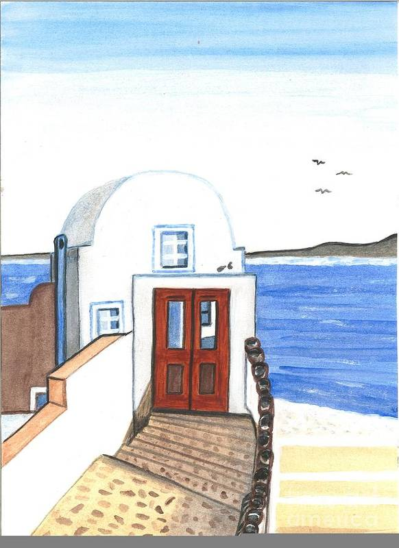 Greece Poster featuring the painting Adobe White by Sea Sons Home and Life