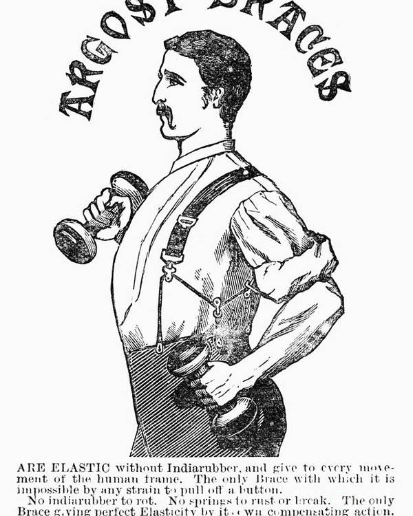 1883 Poster featuring the photograph Advertisement: Suspenders by Granger