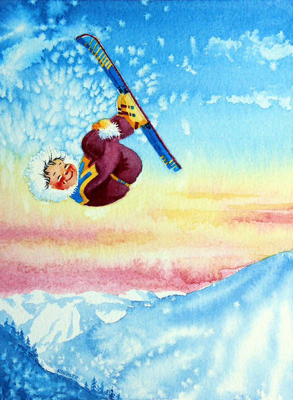 Kids Art For Ski Chalet Poster featuring the painting Aerial Skier 13 by Hanne Lore Koehler