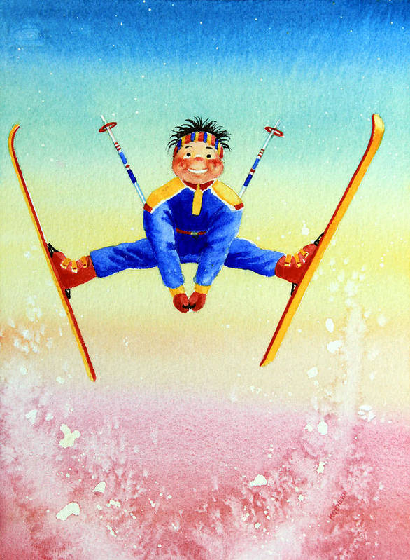 Canadian Kids Book Illustrator Poster featuring the painting Aerial Skier 17 by Hanne Lore Koehler
