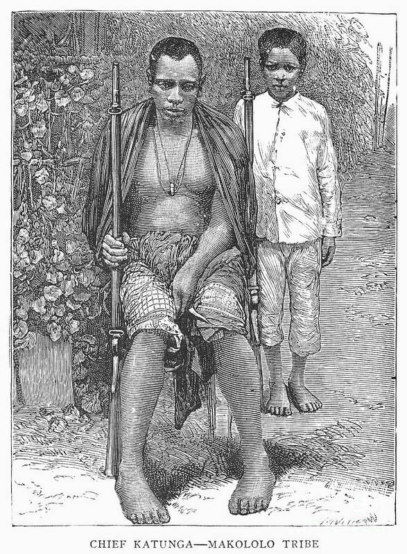 1889 Poster featuring the photograph Africa: Makololo Chief by Granger