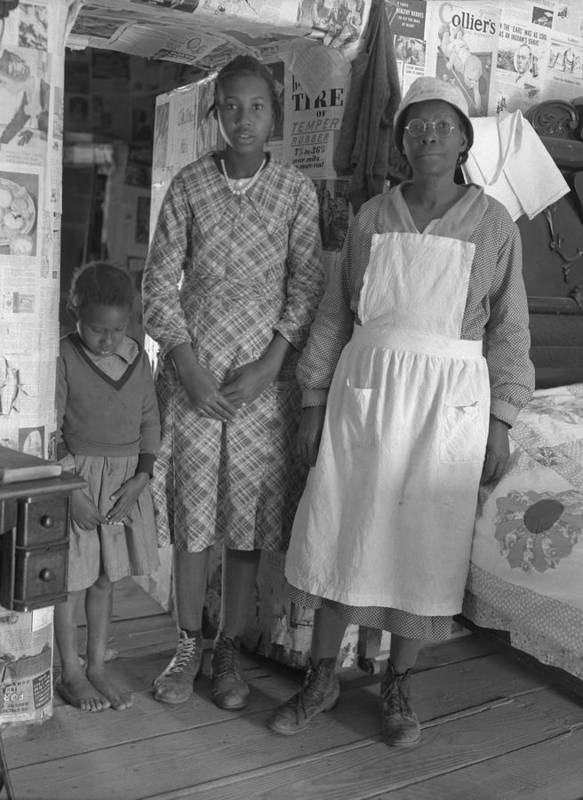History Poster featuring the photograph African American Mother With Her Two by Everett