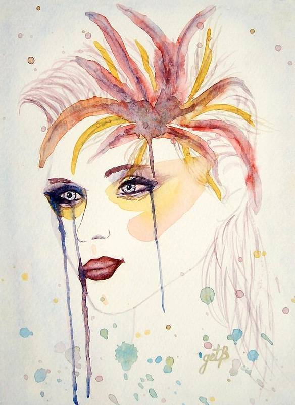 Watercolor Dancer Poster featuring the painting After The Show Watercolor On Paper by Georgeta Blanaru