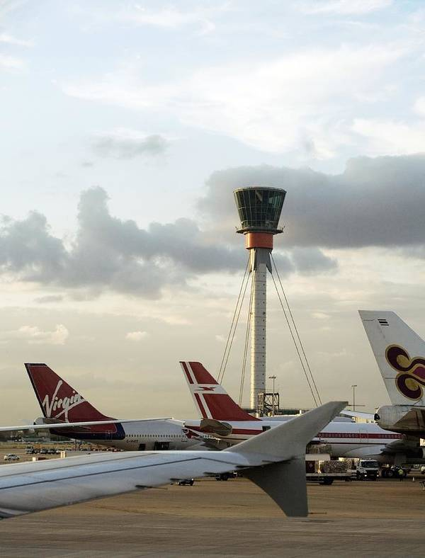 London Heathrow Airport Poster featuring the photograph Air Traffic Control Tower, Uk by Carlos Dominguez