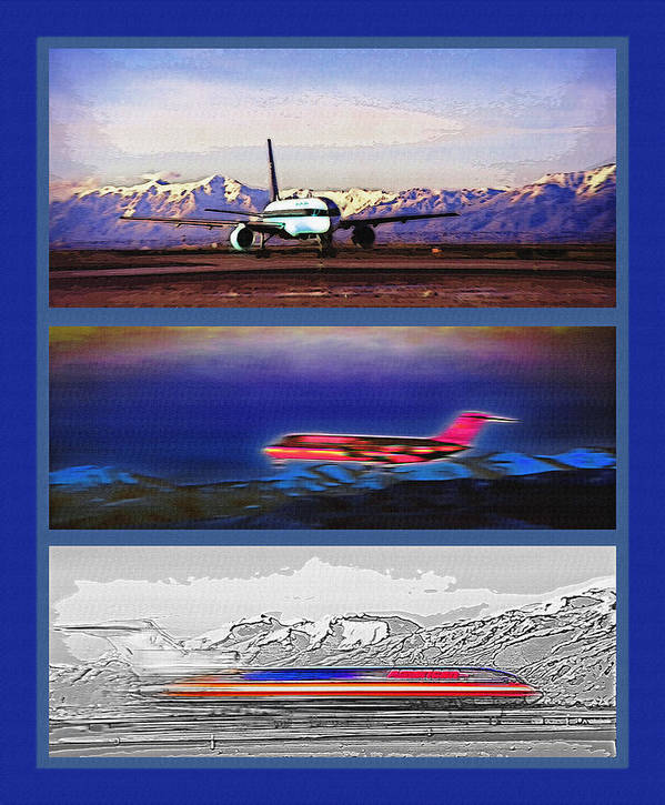 Airport Poster featuring the photograph Airport - Airline Triptych by Steve Ohlsen