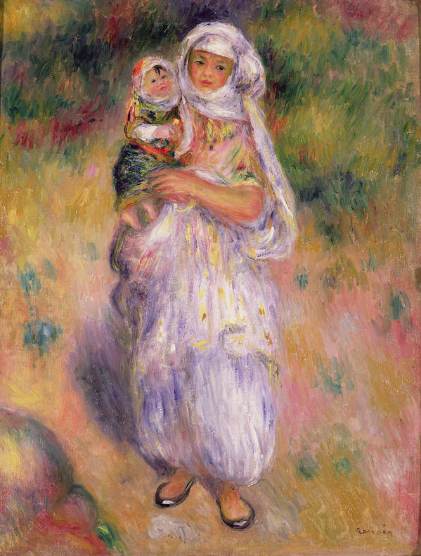 Algerian Poster featuring the painting Algerian Woman And Child by Pierre Auguste Renoir