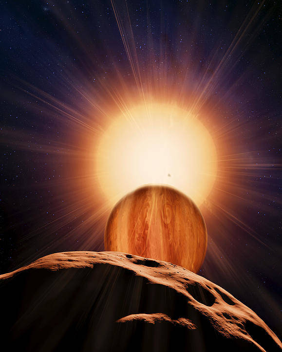 Brown Dwarf Poster featuring the photograph Alien Planet And Asteroid, Artwork by Detlev Van Ravenswaay