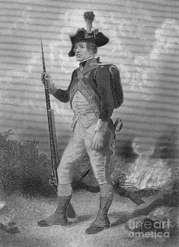 Illustration Poster featuring the photograph American Continental Soldier by Photo Researchers