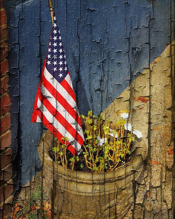 American Flag Poster featuring the photograph American Flag In Flower Pot - 2 by Larry Mulvehill