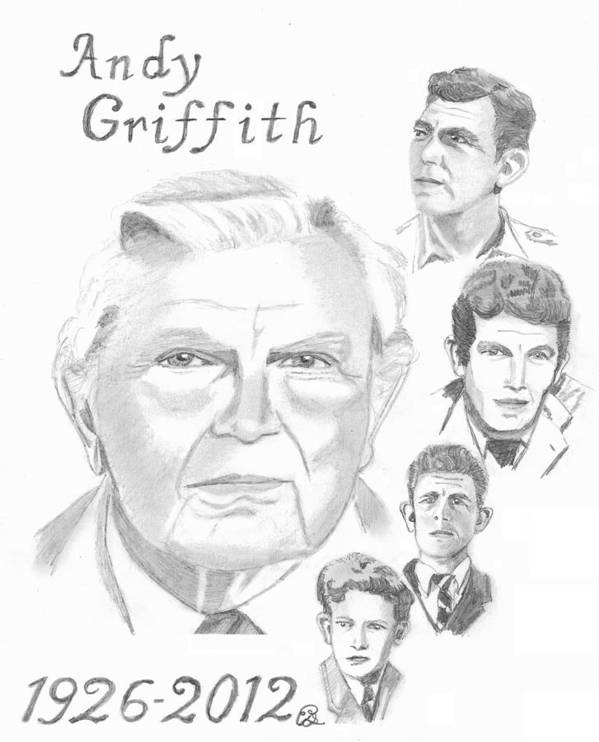 Andy Griffith Poster featuring the drawing Andy Griffith by Gail Schmiedlin