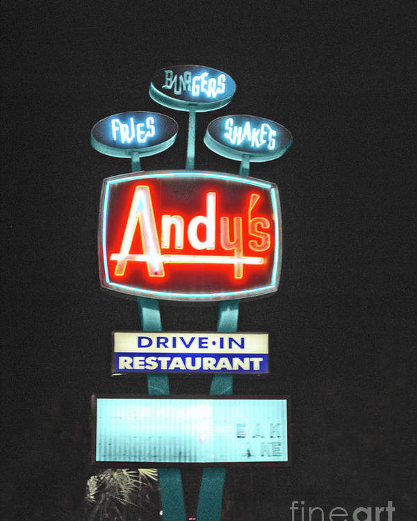 Andy Poster featuring the photograph Andy's Drive-in by Jost Houk