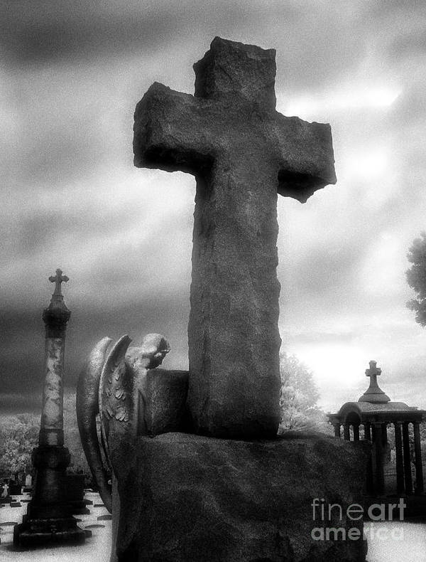 Black & White Infrared Photography Poster featuring the photograph Angel And Cross by Jeff Holbrook