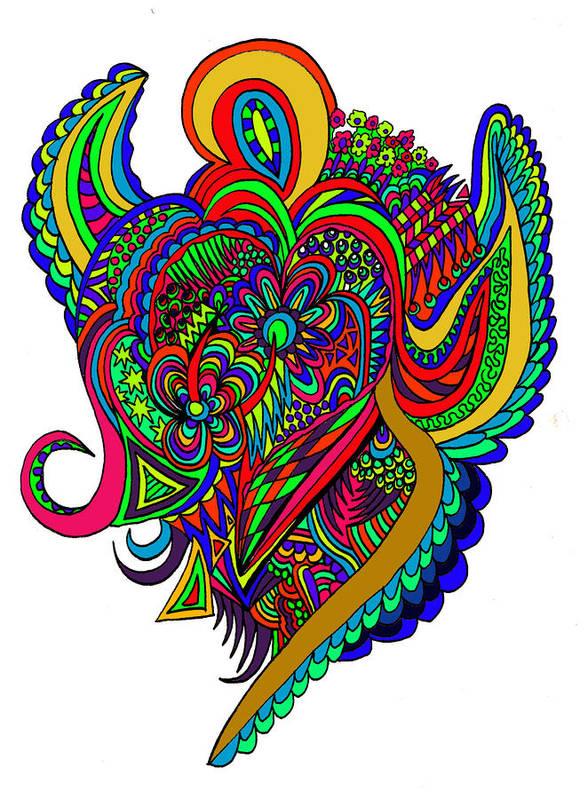 Doodles Poster featuring the digital art Angel by Karen Elzinga