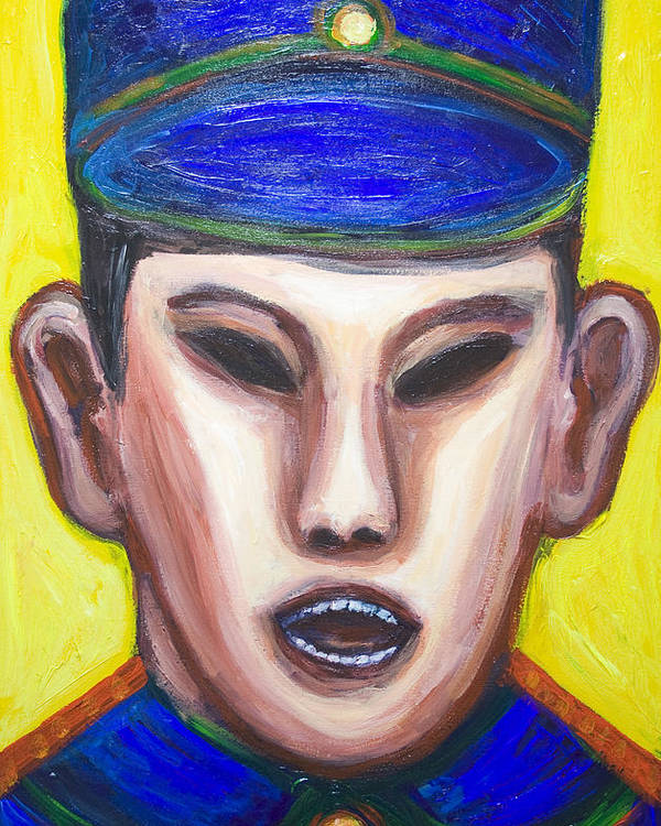 Expressionism Poster featuring the painting Angry Chinese Police Officer by Kazuya Akimoto