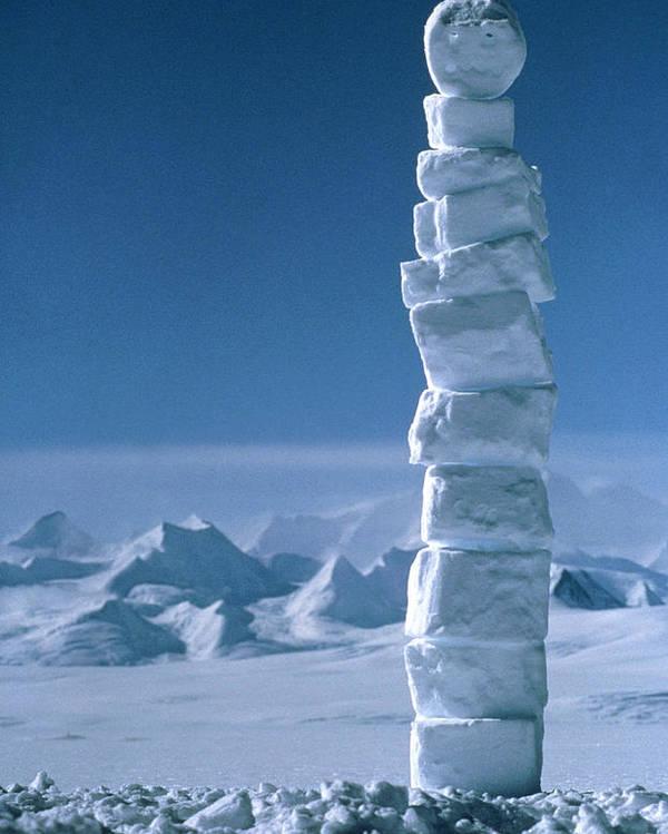 Antarctican Poster featuring the photograph Antarctic Snowman by David Vaughan