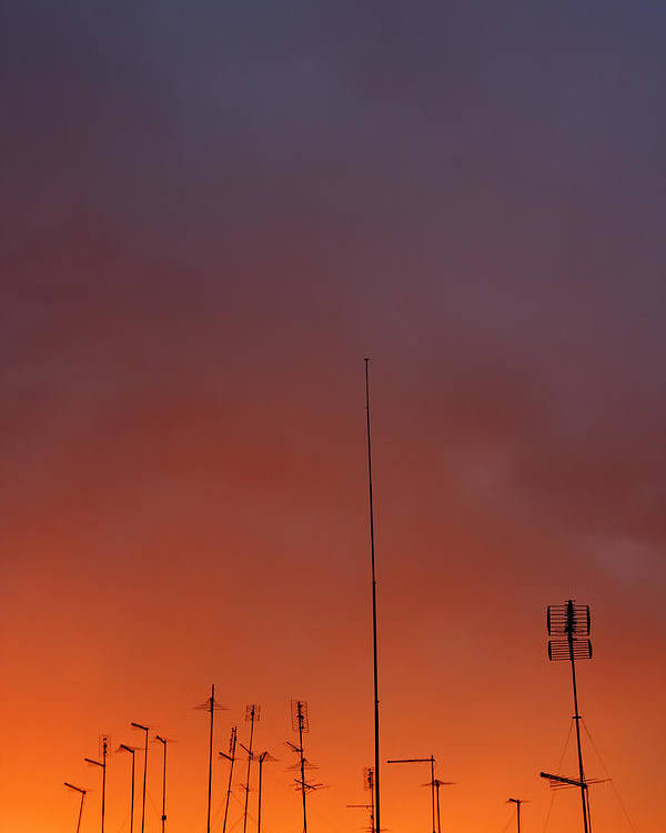Radio Poster featuring the photograph Antennas On Sunset 2 by Matusciac Alexandru