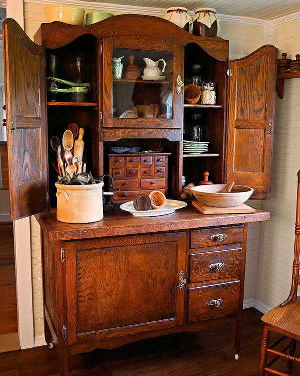 Hoosier Cabinet Poster featuring the photograph Antique Hoosier Cabinet by Carmen Del Valle