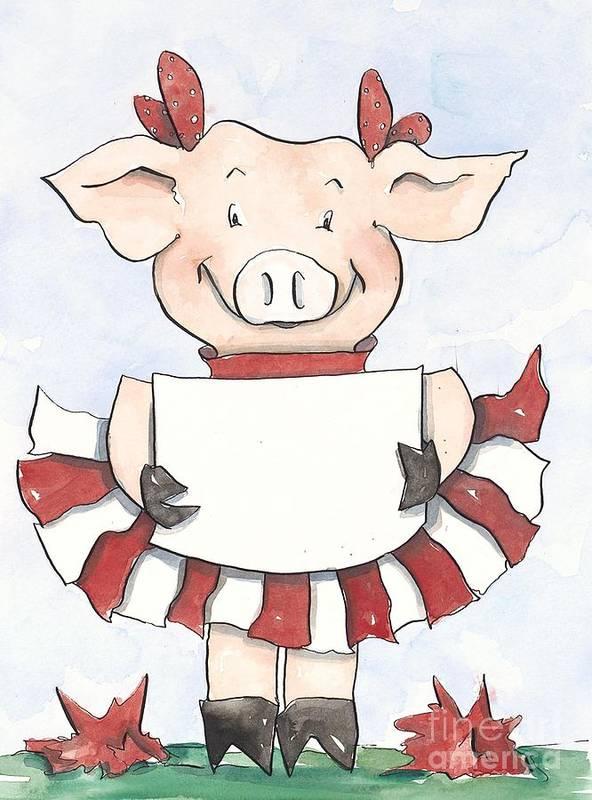 Arkansas Razorbacks Poster featuring the painting Arkansas Razorback Cheer Piggy by Annie Laurie