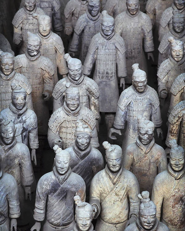 No People Poster featuring the photograph Army Of Terracotta Warriors In Xian by Axiom Photographic