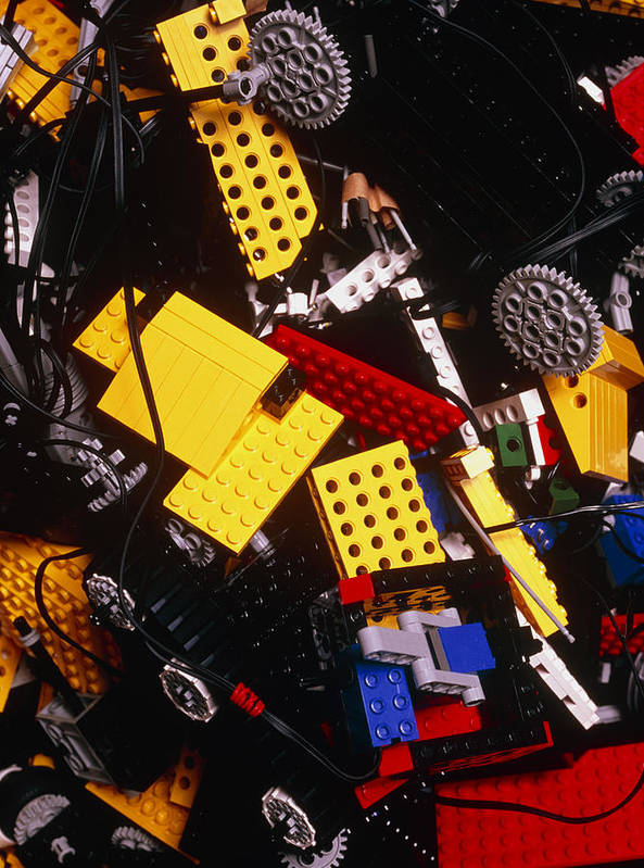 Brick Poster featuring the photograph Assorted Lego Bricks And Cogs. by Volker Steger
