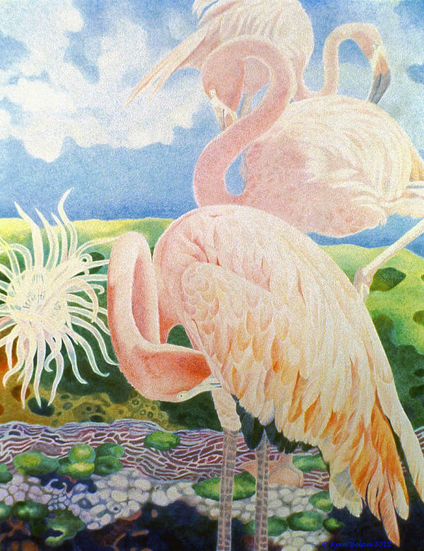 Pink Flamingos Are Surrounded By Surreal Landscape Of Anemone And Corals Poster featuring the drawing Astarte's Paradise IIi by Kyra Belan