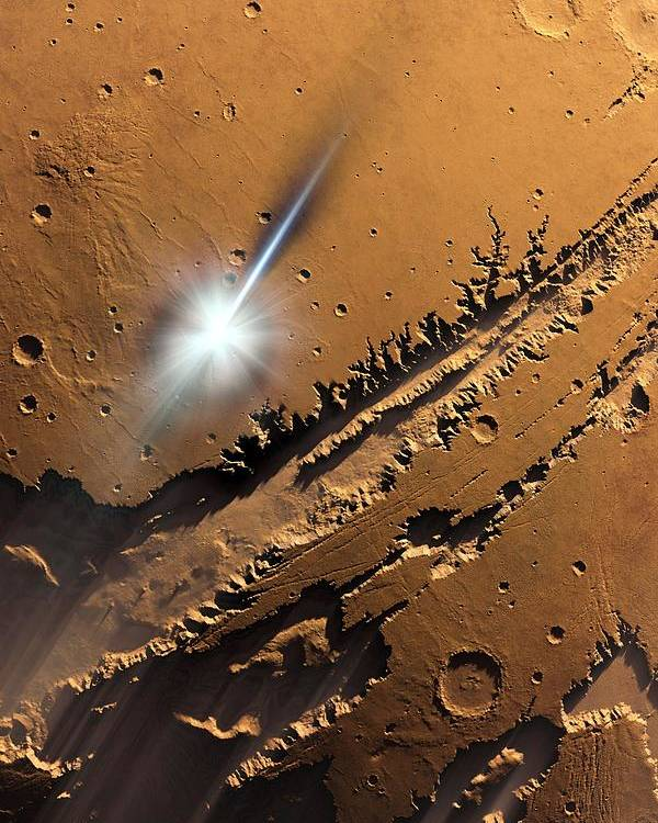 Mars Poster featuring the photograph Asteroid Impact On Mars, Artwork by Detlev Van Ravenswaay