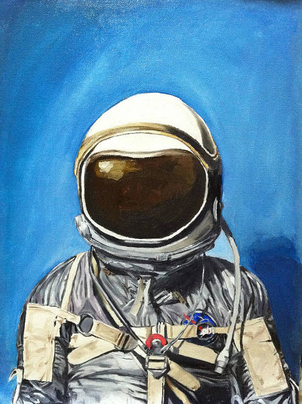 Portrait Poster featuring the painting Astronaut by Louie Valencia