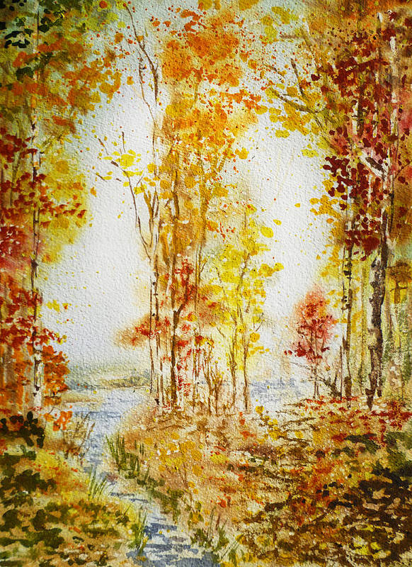 Fall Poster featuring the painting Autumn Forest Falling Leaves by Irina Sztukowski