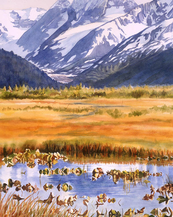 Alaska Poster featuring the painting Autumn Reflections by Sharon Freeman