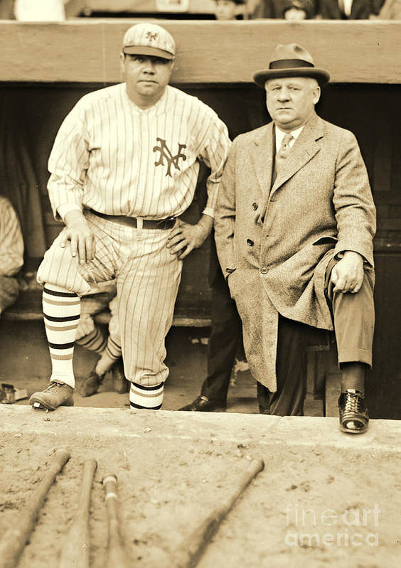 Babe Ruth And John Mcgraw 1923 Poster featuring the photograph Babe Ruth And John Mcgraw 1923 by Padre Art