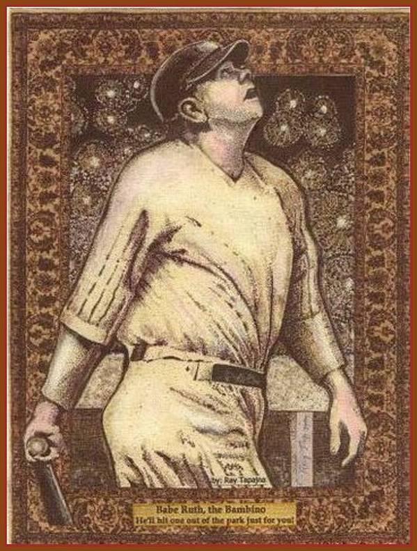 Babe Ruth Poster featuring the mixed media Babe Ruth The Bambino by Ray Tapajna